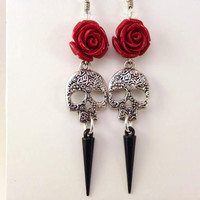 Skull and Rose Earrings - Black Spike Earrings - Sugar Skulls - Swarovski Crystal - Horror Jewelry - Halloween - Day of the Dead - Red Roses