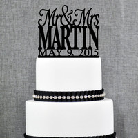 Modern Last Name Wedding Cake Topper with Date, Unique Personalized Wedding Cake Topper, Elegant Custom Mr and Mrs Wedding Cake Topper- S007
