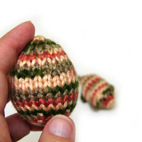 Silky egg toys for easter, knitted soft eggs, waldorf toys, rusty, cream and green party decorations,  #partyfavor #decor #nursery #egg