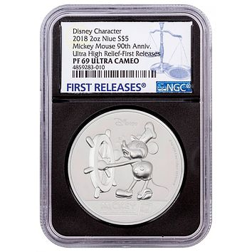 2018 Niue 2 oz Silver $5 Disney Mickey Mouse 90th Anniversary UHR NGC PF-69 UC (First Releases)