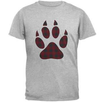 CREYCY8 Autumn Buffalo Plaid Bear Claw Paw Mens T Shirt