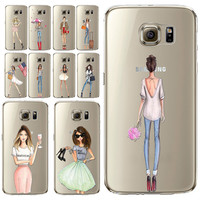 Sexy Modern Lady Girl Phone Case For Samsung Galaxy S5 S6 S6Edge S6edgeplus S7 S7edge Transparent Soft Silicon Mobile Phone Bag