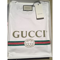 100% Authentic Gucci 1980 Vintage Shirt T-shirt WHITE Washed sz M-XL Distressed