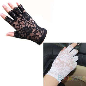 New Goth Party Sexy Dressy Women Lady Lace Gloves Mittens AccessoriesFingerless Black White 011C