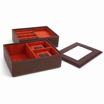 Leather Stacked Jewelry Box Available in Brown/Black - Perfect Gift