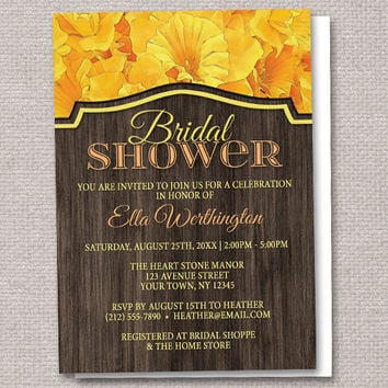 Rustic Yellow Daffodil and Wood Bridal Shower Invitations - Printed or Printable