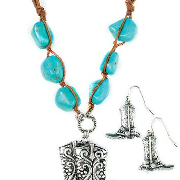 Antique Silver Boots Necklace w/Turquoise & Earrings - BOGO