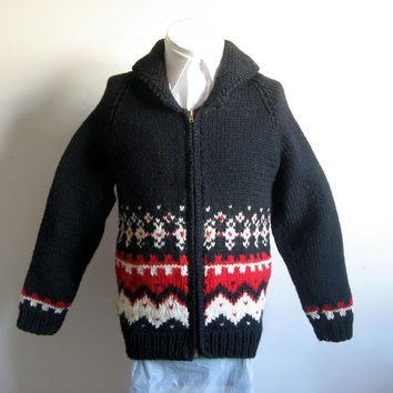 Vintage 1960s Cowichan Style Caridgan Black Red Knit Handmade Knit Sweater Small-Medium