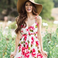 Eleanor Pink Fit and Flare Floral Dress