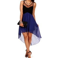 Black/Royal Hi Lo Colorblock Dress