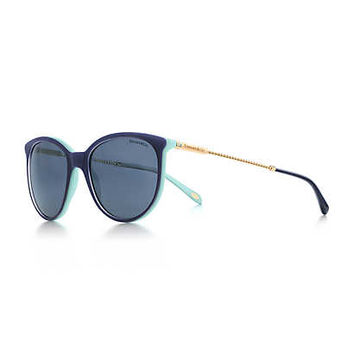 Tiffany & Co. - Tiffany Twist round sunglasses in pale gold-colored metal and navy blue acetate.