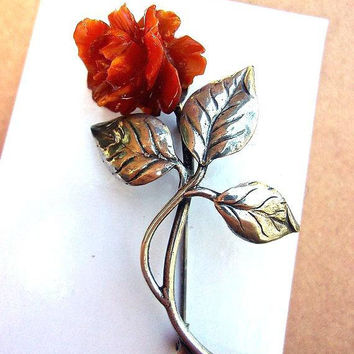 Celluloid Carved Rose 835 Silver Brooch, Orange Floral, Germany, Vintage