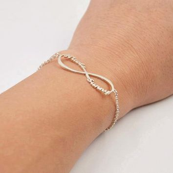 Stainless Steel Infinity Name Bracelet Femme Silver Color Custom Jewelry Personalized Heart Infinity Nameplate Charm Bracelet