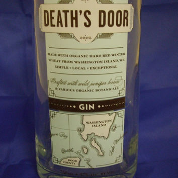 20 Ounce Pure Soy Candle in Reclaimed Death's Door Gin Liquor Bottle - Your Choice of Scent
