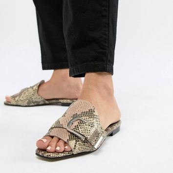 ASOS WHITE Clover Leather Flat Mules at asos.com