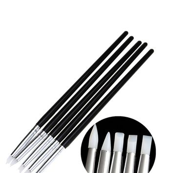 5Pcs Soft Silicone design stamp Pen Brush Carving Craft Pottery Sculpture UV Gel Building brushes Pencil White/Black