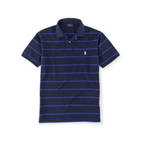 Custom-Fit Striped Mesh Polo