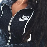 "Women ""NIKE"" Casual Zip Cardigan Sweatshirt Jacket Coat"