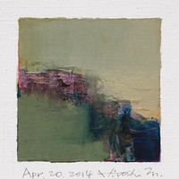 Apr. 20, 2014 - Original Abstract Oil Painting - 9x9 painting (9 x 9 cm - app. 4 x 4 inch) with 8 x 10 inch mat