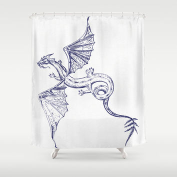 A Dragon's Tale Shower Curtain by Texnotropio