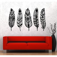 Vinyl Wall Decal Feathers Ethnic Style Rooms Decor Stickers Unique Gift (814ig)