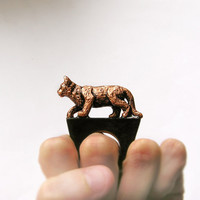 Animal wooden Ring Cuprum Cat, Copper Cat Handmade, coctail statement ring, for cat lover, cat jewelry, black
