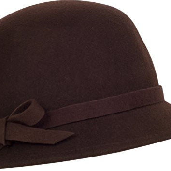 Sakkas 0621LC - Womens Vintage Style Wool Cloche Bucket Winter Hat with Ribbon Bow Accent - Chocolate/One Size