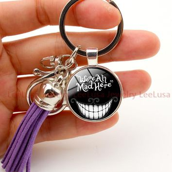 Alice in Wonderland charm keychain we are all mad here alloy silver tassel keyring cat picture key holder porte clef llaveros