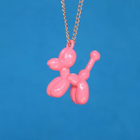 Balloon Dog Necklace Pink Metal Pendant Balloon Animal Jewlery