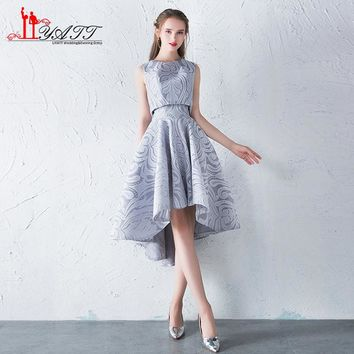 New Cheap In Stock Silver Lace High Low Prom Dresses Tea-Length Short Front Long Back Formal Evening Dress Party Gown