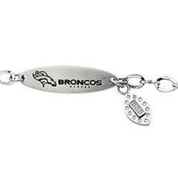 Stainless Steel Denver Broncos Team Name and Logo Dangle Bracelet - 7.5 Inches