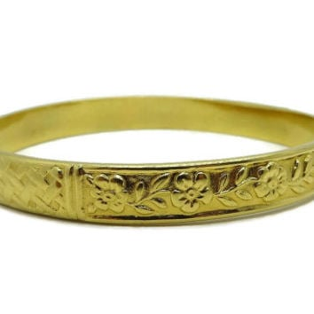 Vintage Gold Tone Etched Bangle, Flower and Basketweave Bracelet