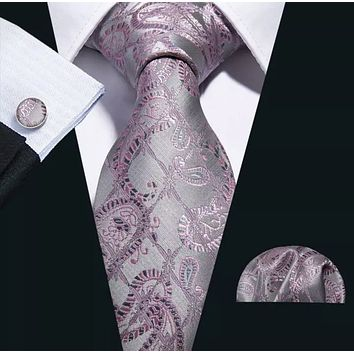 Men's Coordinated Silk Tie Set - Pink Gray Paisley