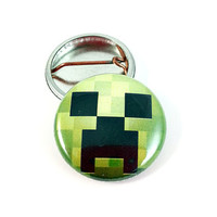 One Inch Minecraft Inspired Creeper Pinback Button