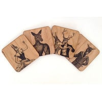 Spitfire Girl Animal Menagerie Coaster Set