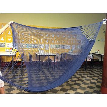 Dark Blue Mayan Double Hammock Indoor/Outdoor Cotton Hammock - Mission Hammocks