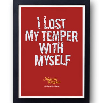 original MOONRISE KINGDOM poster  - Suzy -  I lost my temper with myself - quote - Wes Anderson -  rushmore life aquatic bill murray