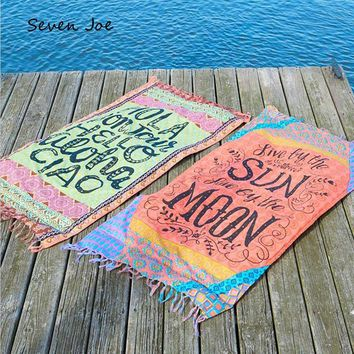 Seven Joe Square Beach Towel Tassel Decor Mandala Blanket Thin Cotton Flower Printed Summer Women Sunscreen Shawl cover up Mat