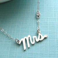 Mrs. Script Necklace with Tiny CZ Accent Sterling Silver Cursive Mrs Word Jewelry New Bride Bridal Shower Gift Honeymoon Just Married
