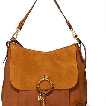 See by Chloé - Joan medium textured-leather and suede shoulder bag