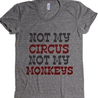 Not My Monkeys-Female Athletic Grey T-Shirt
