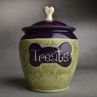 "Dog Treat Jar: ""Treats"" Green and Purple by Symmetrical Pottery Made To Order"