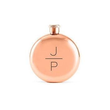 Stacked Monogram Etched Round Rose Gold 3oz Hip Flask (Pack of 1)