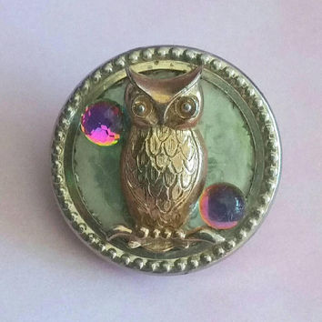 Vintage Upcycled OWL Brooch Reclaimed Jewelry 3D Gold Owl & Purple Moon Crystal Broach Bird Figural Hat Pin Handmade Diorama Jewellery Gift