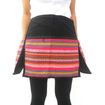Half Waist Apron With Pocket Tribal Embroidered Apron Unisex Waist Apron Barber Apron Handmade Restaurant Apron ,Cooking Apron , Barber