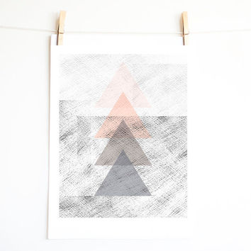 Triangle art. Geometrical print design. Monochrome wall art. Minimal. Pastel color. Pink and Grey triangles. Printable art. INSTANT DOWNLOAD