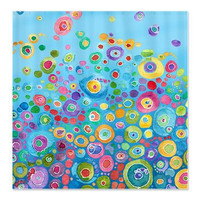 Artistic Shower Curtain - Inner Circle Blue Bubbles - Abstract Watercolor colorful shower curtain, blue, teal, yellow, pink, green