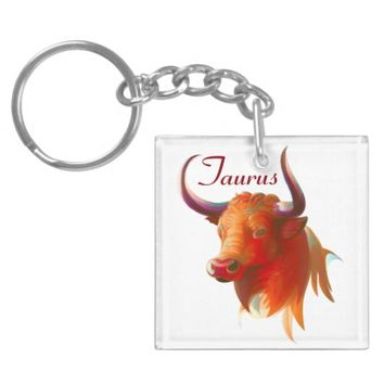 Zodiac Taurus Sign Square Double Sided Keychain