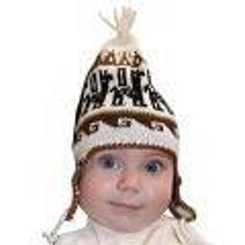 Infant Natural Knit Alpaca Chullo Hat with Ear Flaps