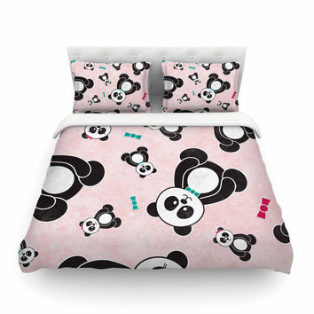 """Noonday Design """"Panda Freefall In Pink"""" Black Teal Featherweight Duvet Cover"""
